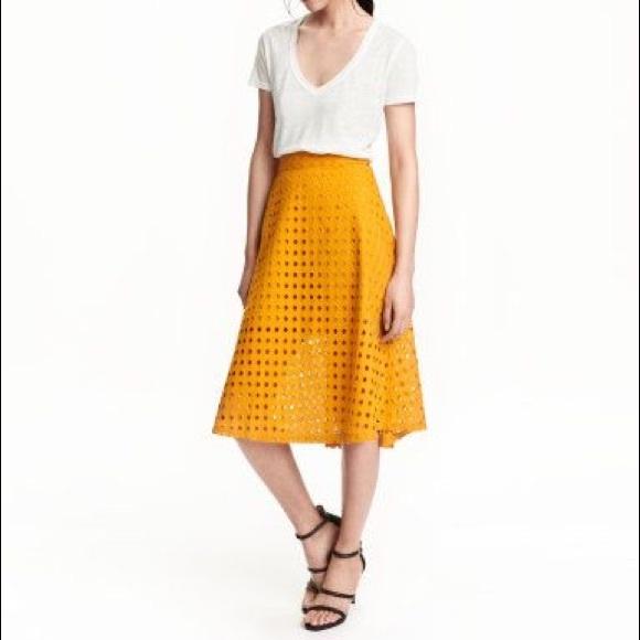 3bd04602e7 H&M Dresses & Skirts - H&M mustard yellow eyelet midi flare skirt