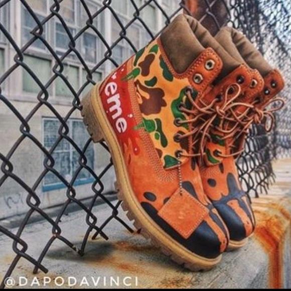 Custom Timberland Boots Bape Supreme