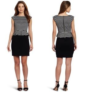 Cynthia Steffe Black & White Striped Peplum Dress