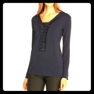 sophie Max Tops - New navy blue jersey bell sleeve lace up top