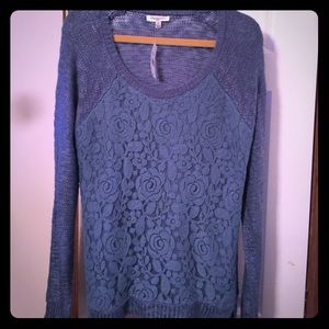 Freshman Sweaters - NWT BLUE SWEATER XL WITH FLOWERY DETAIL 🌸 💙