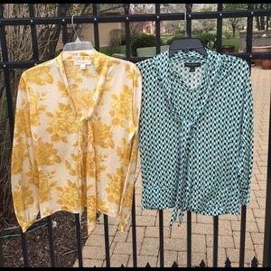 Banana republic M L silk blouses w roses & chevron