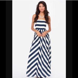 "Lulu's Maxi ""Dreamboat"" White Blue Stripe Dress"