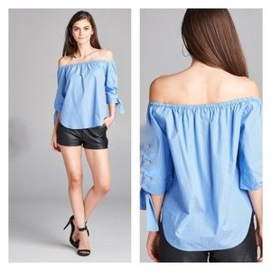 THE DORM BOUTIQE Tops - BEAUTIFUL VACATION BLUE STRIPED OFF SHOULDER TOP