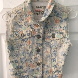 Hot Kiss Jackets & Blazers - Floral print denim vest
