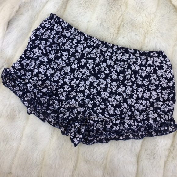 Navy Floral Pattern Soft Fabric Ruffle Shorts