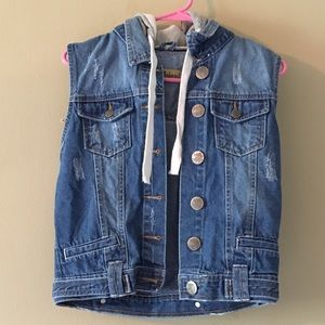Hybrid Tops - Hybrid Jeans Vest with Gray Hoodie Size Small