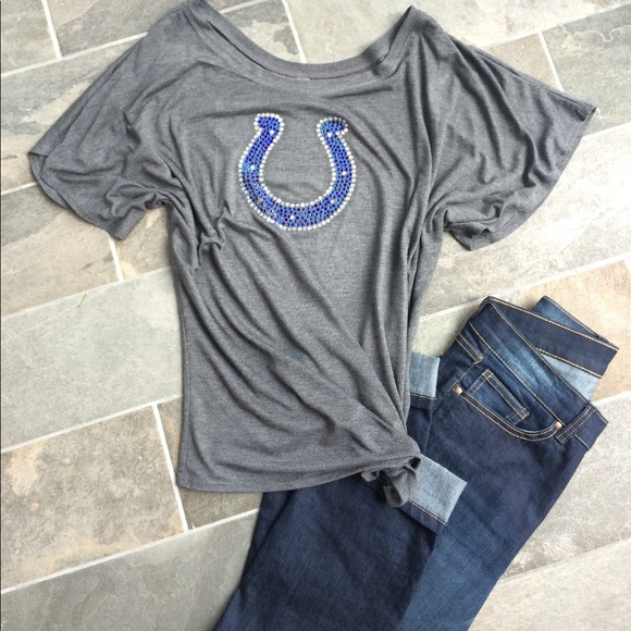 Tops   Colts Rhinestone Horseshoe