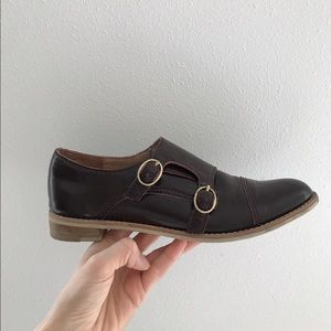 Anthropologie burgundy leather loafers