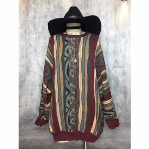 Vintage Sweaters - TRUE VINTAGE MIX MEDIA OVERSIZED BOYFRIEND SWEATER