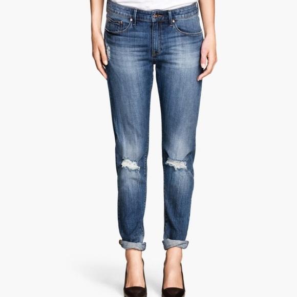 H&M Denim - H&M Tapered Distressed Boyfriend Jeans