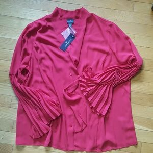 NWT RED BELL SLEEVE FRONT TIE BLOUSE