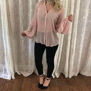 Sheer Dusty Pink Pleated Button Down Blouse