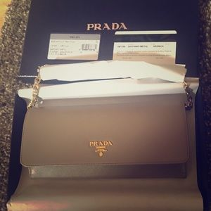Prada Handbags - NIB Prada Saffiano Wallet on a Chain, Dark Grey