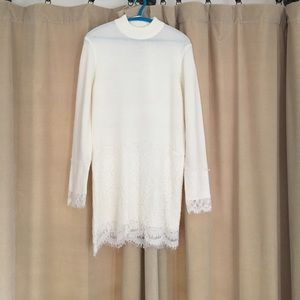 English Factory Dresses & Skirts - White Sweater Dress with Lace Detail