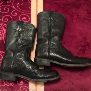 Justin Boots Shoes - Justin boots black worn lots of wear left 6.5