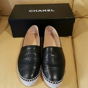 CHANEL Shoes - Authentic Chanel Lambskin  CC Espadrilles Size 37
