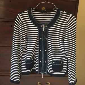 Gerry Weber Jackets & Blazers - Gerry Weber navy and white sweater/jacket