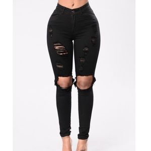 Black destroyed high rise jeans