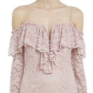 Bardot Dresses & Skirts - Bardot Alessandra Lace Cold Shoulder Ruffle Dress