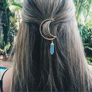 Crystal Stone Crescent Moon Gold Boho Hair Clip