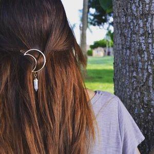 🌙Boho Quartz Crystal Crescent Moon Hair Clip