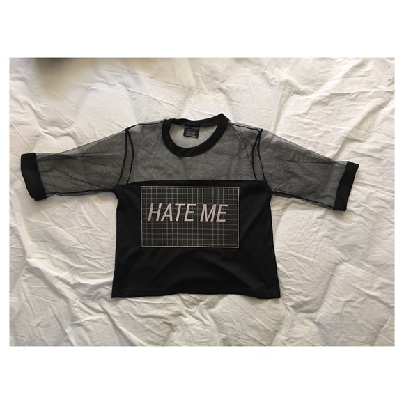 6aa725162f0de happy monday Tops - Hate Me Mesh Crop Top
