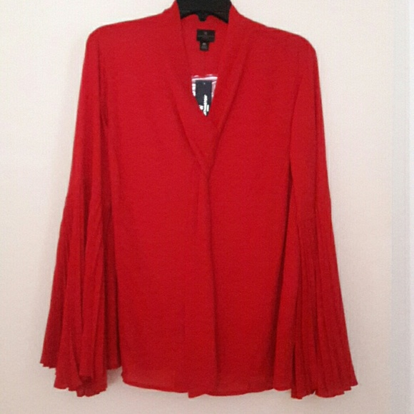 Worthington Tops - Worthington Red Bell sleeve Top.