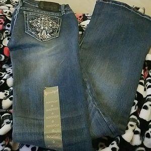 Denim - Crystal Embellished Boot Cut Jeans Size 0