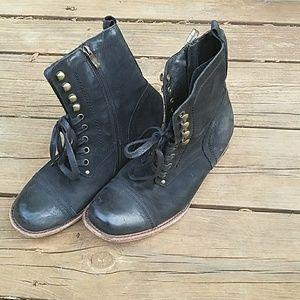 Bernardo Shoes - Bernardo lace up black moto boots