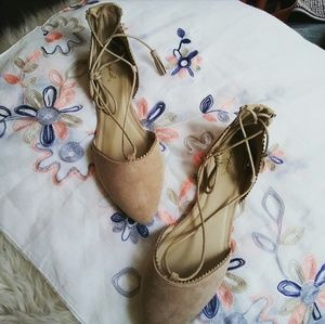 Shoes - //The Jessica Day// Taupe lace up Flats