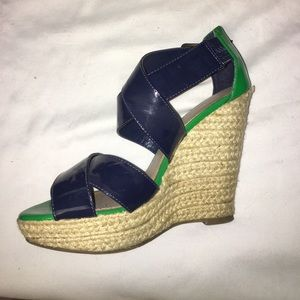 Navy and green espadrilles wedges