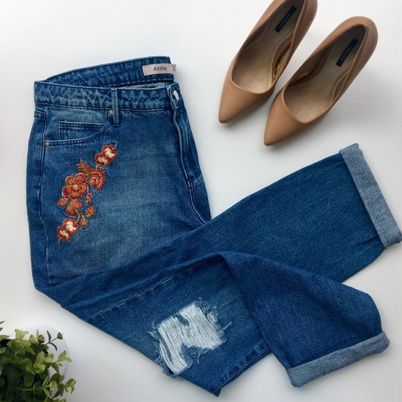 JustFab Denim - Floral Embroidered Boyfriend Jeans