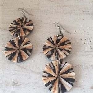 handmade Jewelry - Gorgeous shell inlay danglers