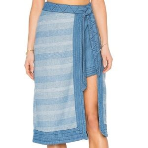 Free People Dresses & Skirts - New Free People Size 0 Blue Stripes Wrap Skirt