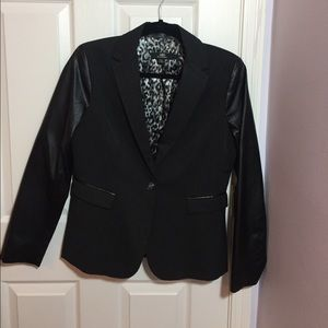 ABS platinum Jackets & Blazers - Black blazer with faux leather sleeves