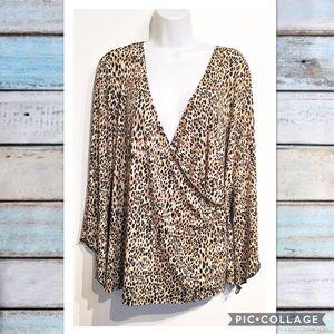 Ashley Stewart Tops - Ashley Stewart Plus Size Leopard Print Wrap Top