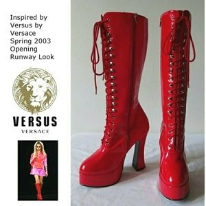 Ellie Shoes - Ellie Red Shiny Heel Boots NEW 7 Versus Inspired