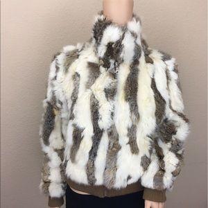 Wilsons Leather Jackets & Blazers - Wilsons genuine rabbit fur bomber jacket