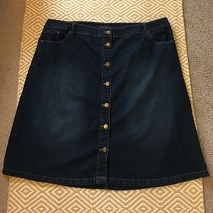Eloquii Dresses & Skirts - Eloquii Front Button Dark Denim A-line Skirt, 24