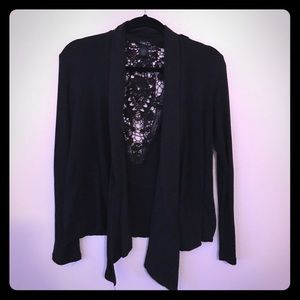 Rue21 Black Cardigan With Crochet Detail