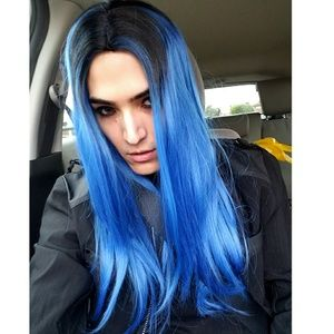 Blue Black Ombre Wig High Quality Straight Hair