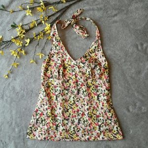 LOFT Tops - Ann Taylor LOFT floral spring halter top blouse