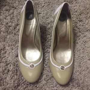 Versus By Versace Shoes - Versus Taupe Round Toe Pumps 38