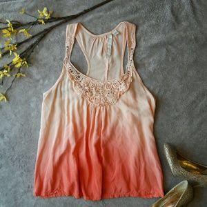 LC Lauren Conrad Tops - LC Lauren Conrad pink ombre crochet tank top