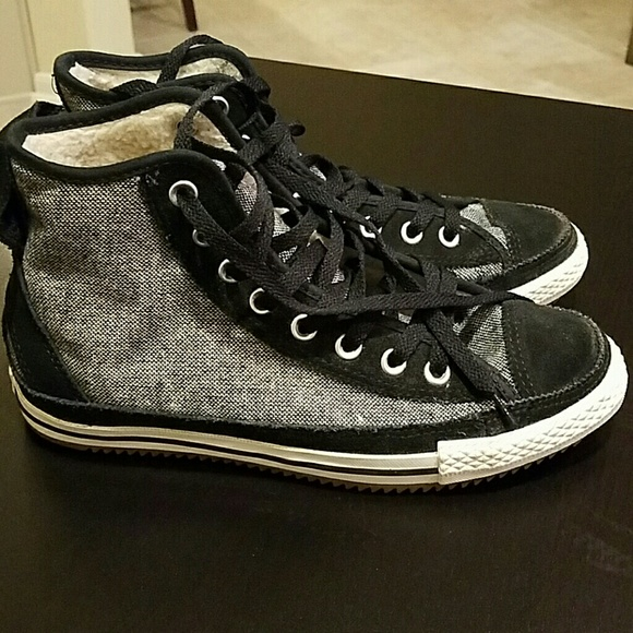 13393d1367e7 Converse Shoes - Converse Elsie tweed panel high top trainers