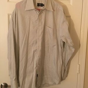 Ike Behar Other - IKE BEHAR CREME KHAKI Checkered Men's SHIRT LARGE