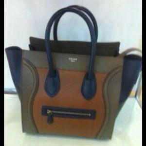 Celine Handbags - Celine Mini Luggage Bag on Olive/Brown/Navy