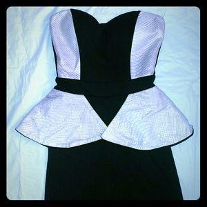 Pants - Black and cream Peplum Jumpsuit