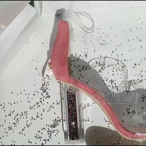 a13cf4ae4fd cape robbin Shoes - Rose Clear Perspex Glitter Block Heels